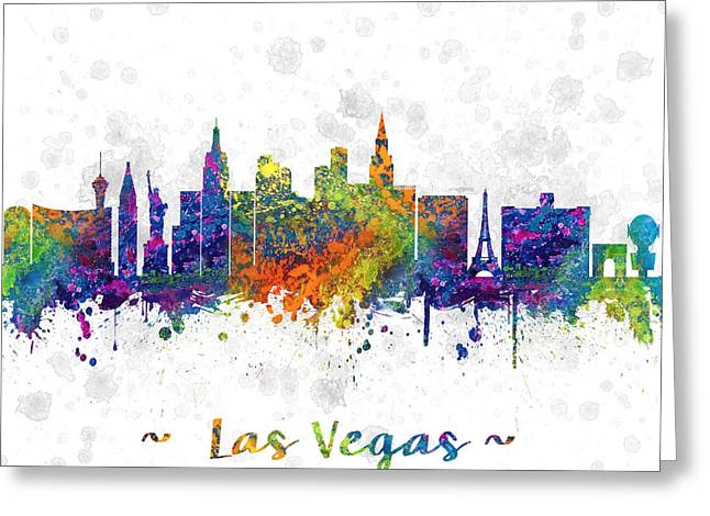 Las Vegas Drawings Greeting Cards -  Las Vegas Nevada Skyline color 03SQ Greeting Card by Aged Pixel