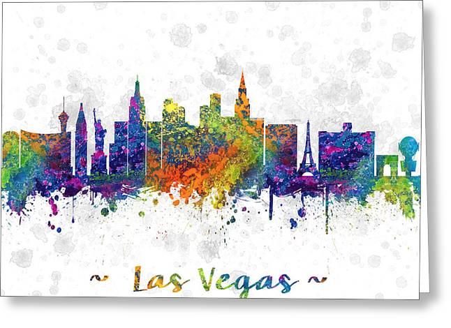 Las Vegas Greeting Cards -  Las Vegas Nevada Skyline color 03SQ Greeting Card by Aged Pixel