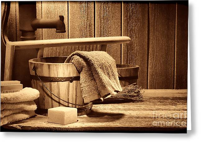 Old Washboards Photographs Greeting Cards -  Laundry at the Ranch Greeting Card by American West Legend By Olivier Le Queinec