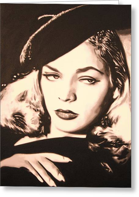 Bacall Greeting Cards - - Lauren Bacall - Greeting Card by Luis Ludzska