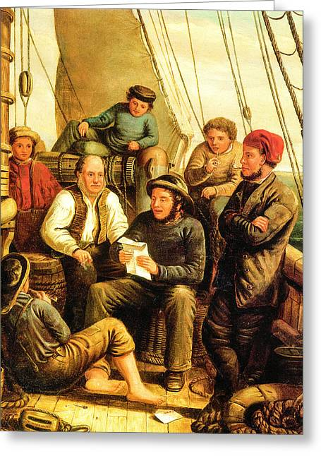 Schooner Greeting Cards -  Letter From Home 1865 Greeting Card by T Whittaker
