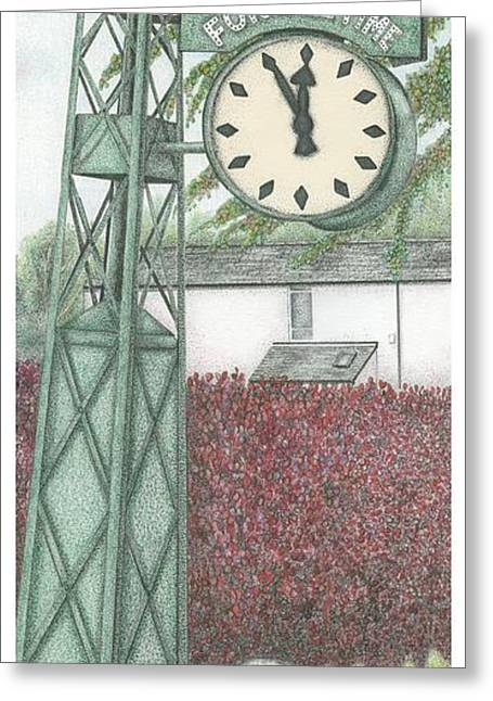 Clock Drawings Greeting Cards -  Leyland Motors Clock Kendal Cumbria Greeting Card by Sandra Moore