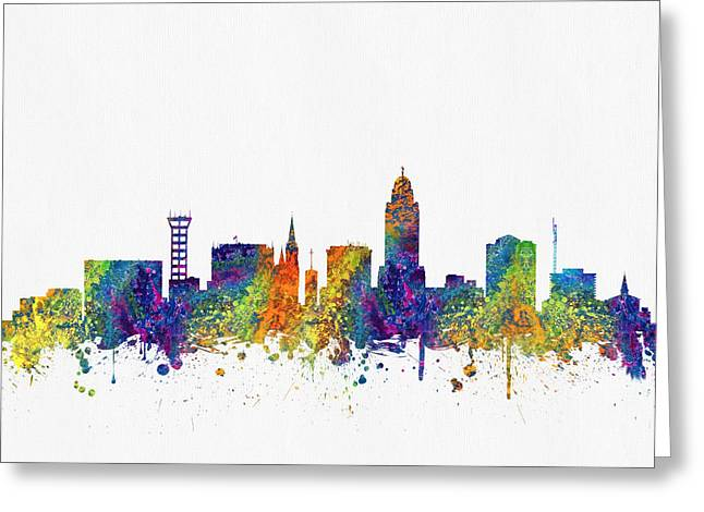 Lincoln City Greeting Cards -  Lincoln Nebraska Skyline color03 Greeting Card by Aged Pixel