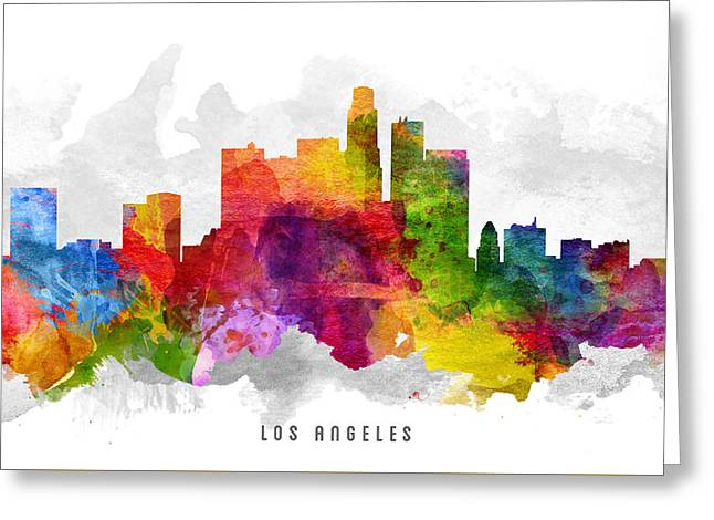 Los Angeles California Cityscape 13 Greeting Card by Aged Pixel