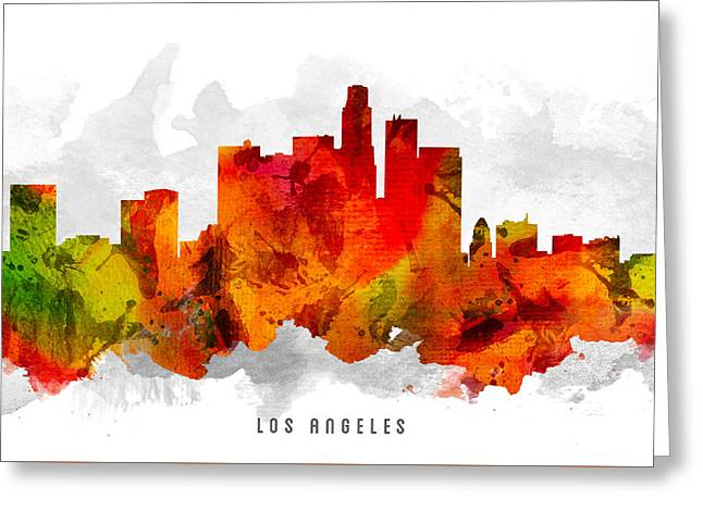 Los Angeles California Cityscape 15 Greeting Card by Aged Pixel