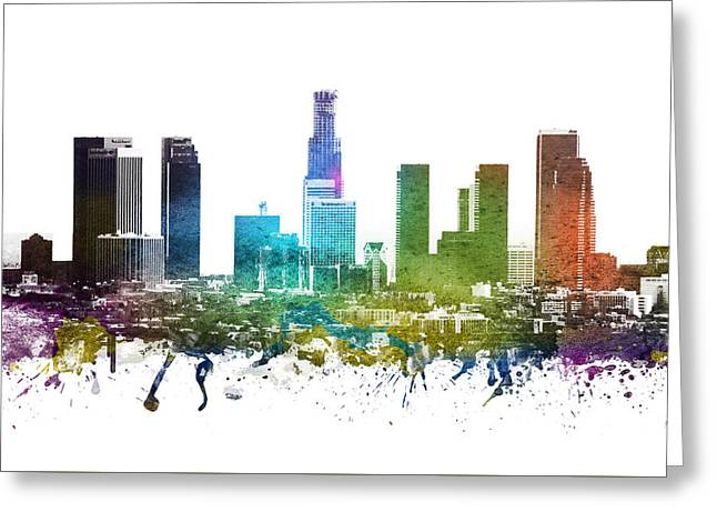 Skylines Drawings Greeting Cards -  Los Angeles cityscape 01 Greeting Card by Aged Pixel