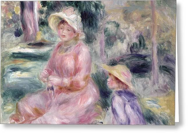 Madame Renoir and Her Son Pierre Greeting Card by Pierre Auguste Renoir