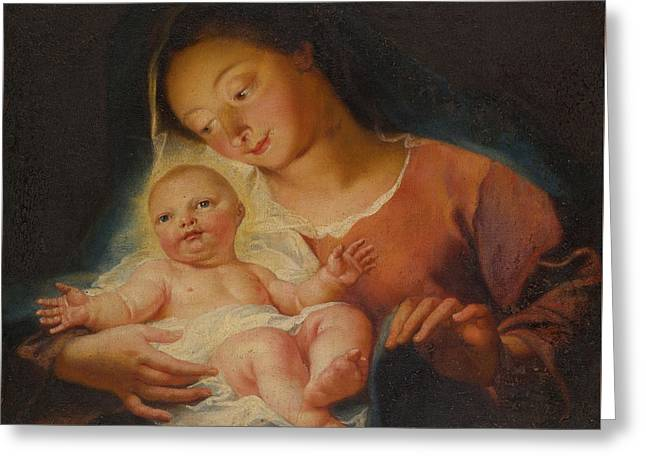 Madonna And Child Greeting Card by Antoine Coypel