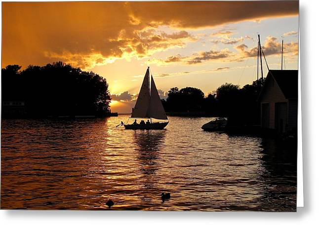 Sailboats In Water Greeting Cards -  Magical Michigan Moment Greeting Card by Jane Greiner