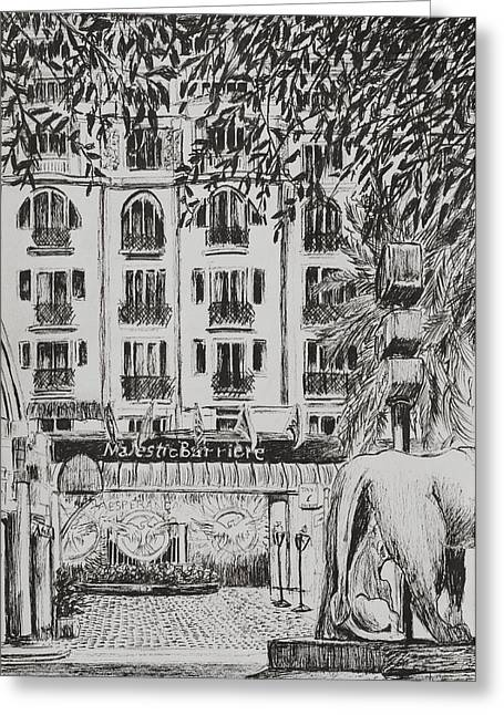 Pen And Ink Drawings Greeting Cards -  Majestic  Cannes Greeting Card by Vincent Alexander Booth