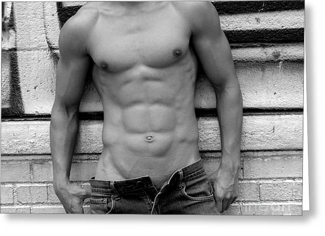 Bodybuilder Digital Greeting Cards -  Male Abs Greeting Card by Mark Ashkenazi