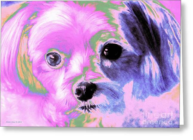 Puppy Digital Art Greeting Cards -  Maltese In Pink Greeting Card by Annie Zeno