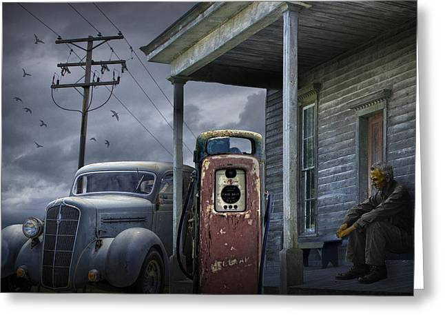 Petrol Station Greeting Cards -  Man lost in thought by the Vintage Gas Station Greeting Card by Randall Nyhof