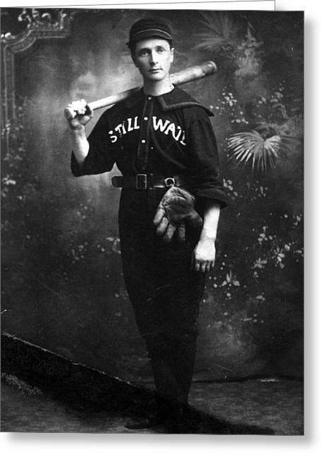 Baseball Uniform Greeting Cards -  Man Male In Baseball Uniform 1890s Black White Greeting Card by Mark Goebel