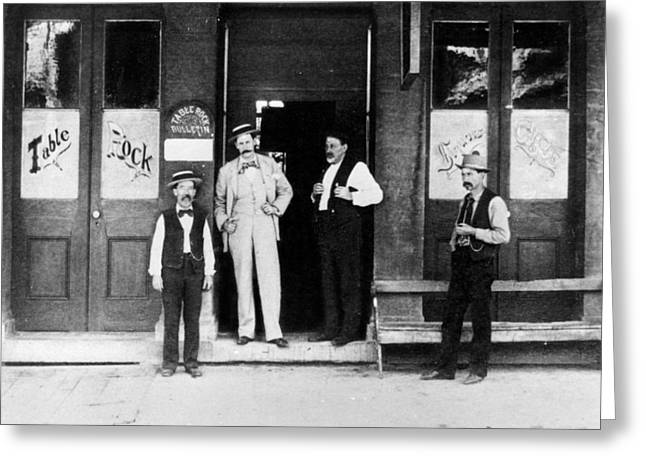 Saloons Greeting Cards -  Man Male In Front Table Rock Saloon Circa 1900 Greeting Card by Mark Goebel