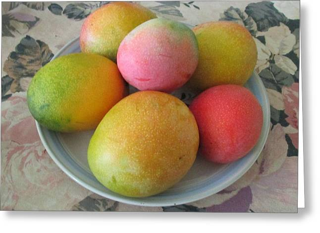 Mangoes On The Table Greeting Card by Trudy Brodkin Storace