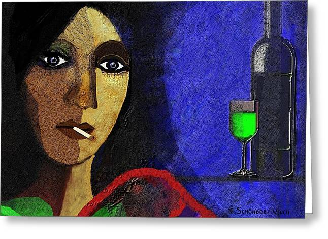 Booze Greeting Cards -  Marie in the Morning - 292 Greeting Card by Irmgard Schoendorf Welch