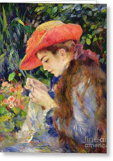 Absorb Paintings Greeting Cards -  Marie Therese Durand Ruel Sewing Greeting Card by Pierre Auguste Renoir