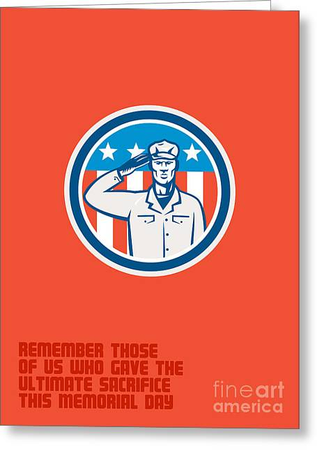 Memorial Day Greeting Card American Soldier Salute Circle Greeting Card by Aloysius Patrimonio