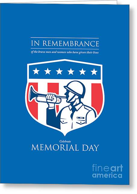 Memorial Day Greeting Card Soldier Blowing Bugle Flag Shield Greeting Card by Aloysius Patrimonio