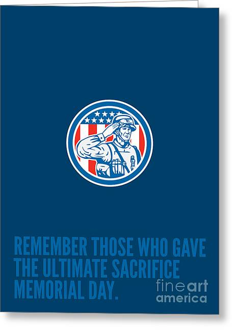 Memorial Day Greeting Card Soldier Military Salute Circle  Greeting Card by Aloysius Patrimonio