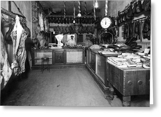 Meat Hook Greeting Cards -  Men Males In Butcher Shop 1910 Black White 1910s Greeting Card by Mark Goebel
