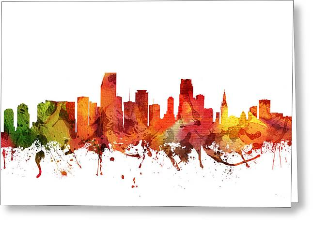 Miami Skyline Greeting Cards -  Miami Cityscape 04 Greeting Card by Aged Pixel