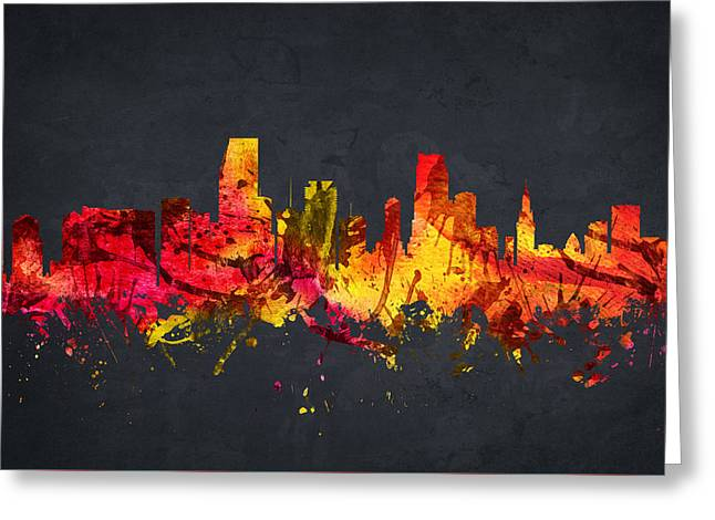 Miami Skyline Greeting Cards -  Miami Cityscape 07 Greeting Card by Aged Pixel