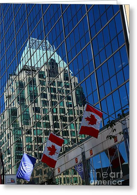 Modern Architecture - City Reflection Vancouver  Greeting Card by Christiane Schulze Art And Photography