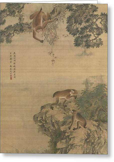 Monkeys Playing Greeting Card by Celestial Images