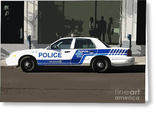 Police Car Greeting Cards -  Montreal Police Car Poster Art Greeting Card by Reb Frost