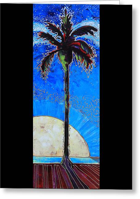 Moon Beach Greeting Cards -  Moonset Palm Greeting Card by Greg Chapman