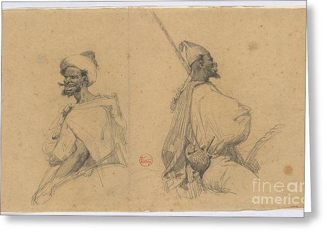 1874 Greeting Cards -  Moroccan warriors Greeting Card by MotionAge Designs