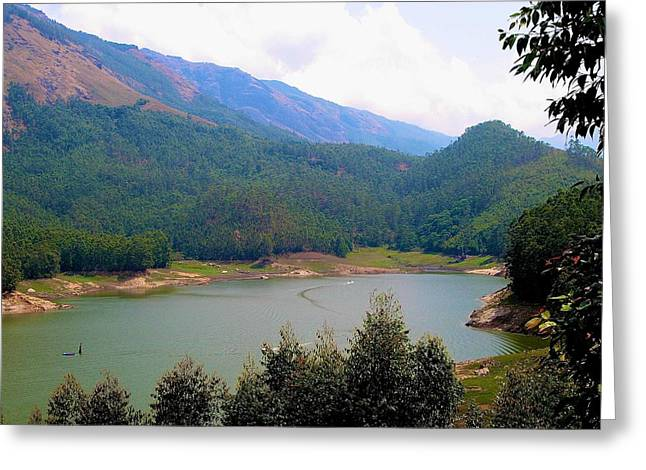 Grey Clouds Greeting Cards -  Mountain Lake  Greeting Card by Sheela Ajith