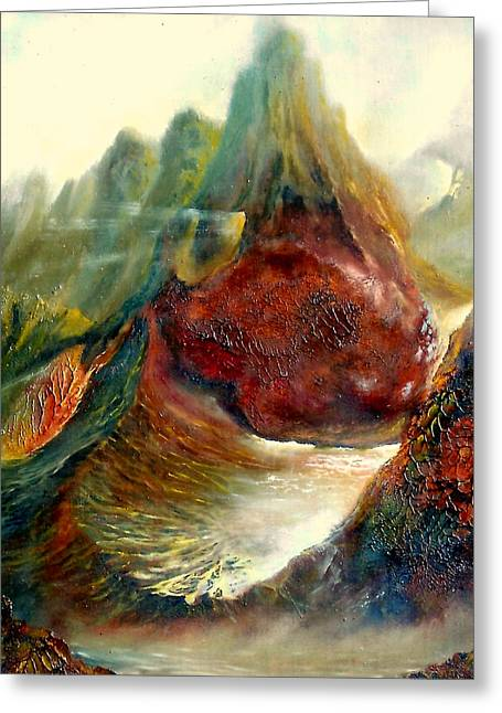 Transfer Paintings Greeting Cards -  Mountains Fire Greeting Card by Henryk Gorecki