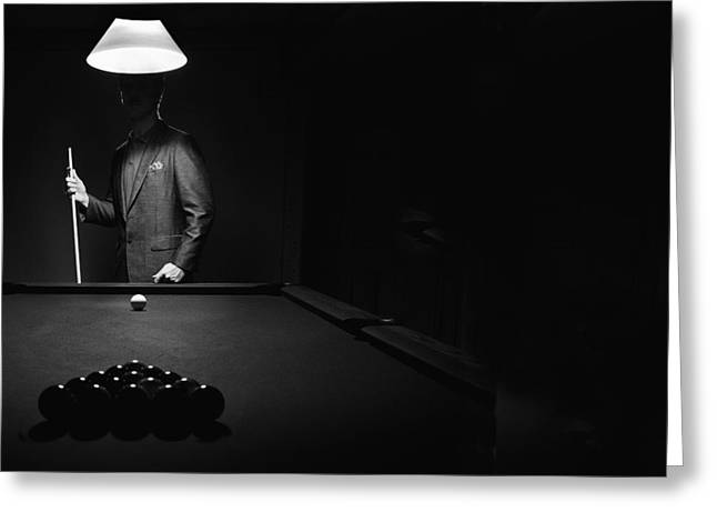 Opposition Greeting Cards -  Mystery Pool Player Behind Rack Of Greeting Card by Richard Wear