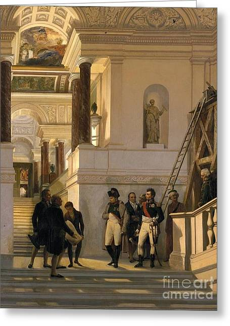 Napoleon Visiting The Staircase  Greeting Card by Louis