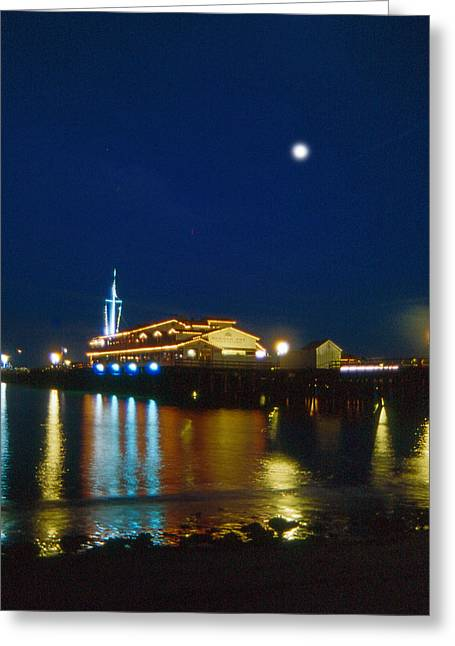 Santa Barbara Pier Greeting Cards -  Night Time on the Warf Greeting Card by Gary Brandes