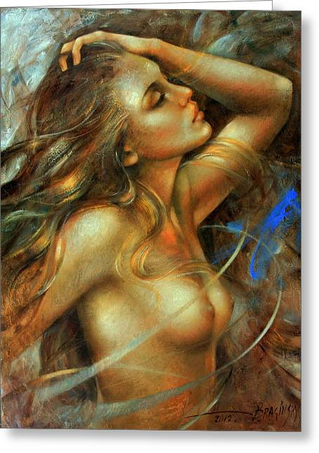 Nuda Greeting Card by Arthur Braginsky