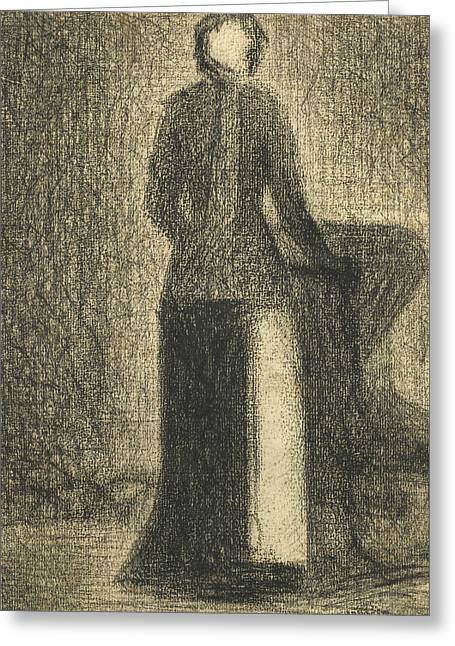 Seurat Greeting Cards -  Nurse with a Childs Carriage  Greeting Card by Georges-Pierre Seurat