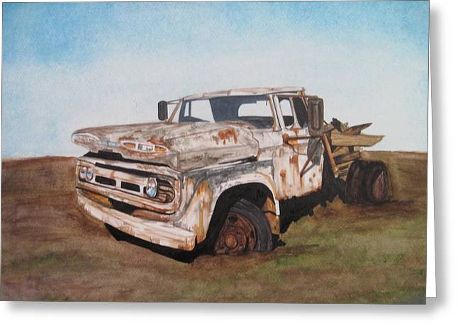 Rusted Cars Drawings Greeting Cards -  Ol Perry  Greeting Card by Tabitha Marshall