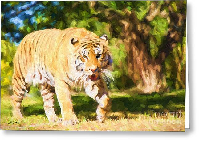 Nature Paintings Greeting Cards -  On The Prowl Greeting Card by Judy Kay