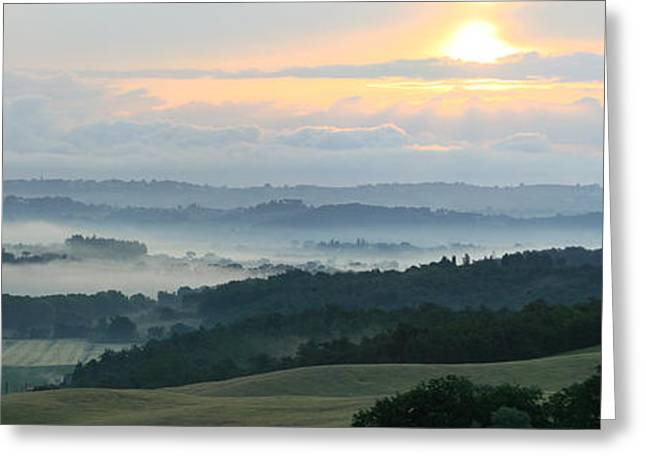Olive Green Greeting Cards -  Panoramic landscape of Tuscany in Italy Greeting Card by John Maletski