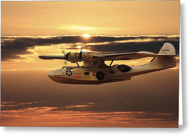 Pby Catalina Greeting Cards -  PBY Catalina Sunset Greeting Card by Rob Lester Wirral
