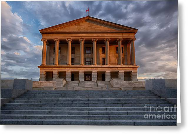 Capital Building In Nashville Tennessee Greeting Cards -  photography print of the State Capital building of Nashville Tennessee at sunrise Greeting Card by Jeremy Holmes