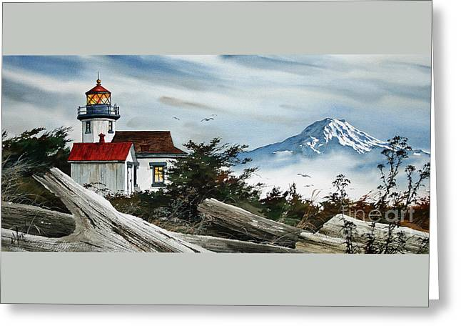 Artist James Williamson Watercolor Greeting Cards -  Point Robinson Lighthouse and Mt. Rainier Greeting Card by James Williamson