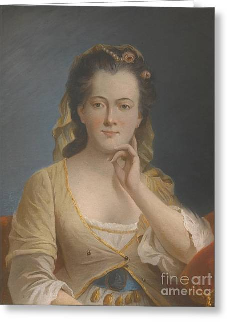 French School; (18th Century) Greeting Cards -  Portrait Of A Lady Greeting Card by MotionAge Designs