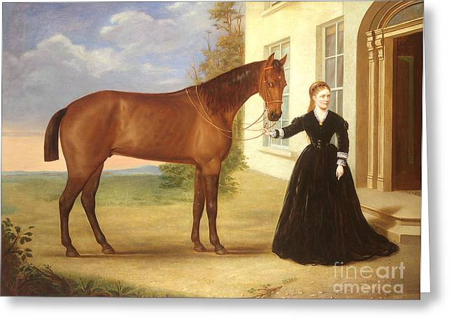 Entrance Door Greeting Cards -  Portrait of a lady with her horse Greeting Card by English School