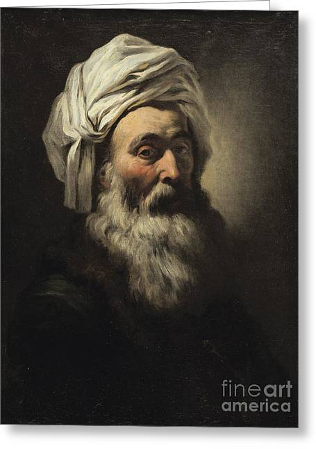 Attributes Greeting Cards -  Portrait Of A Man With A Turban Greeting Card by Attributed To Francois-andre Vincent
