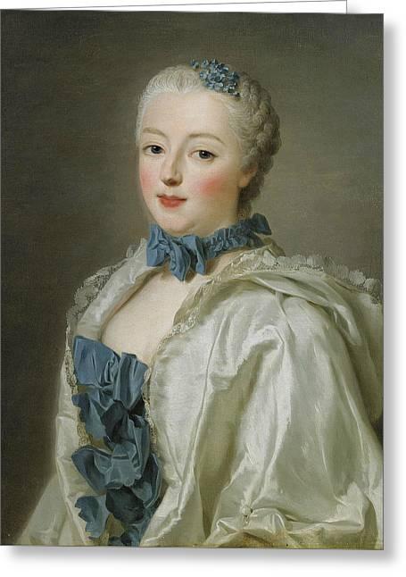 Portrait Of Francoise-marguerite De Sevigne  Greeting Card by Alexander Roslin
